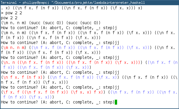 Screenshot of the program, during the computation of 2^2